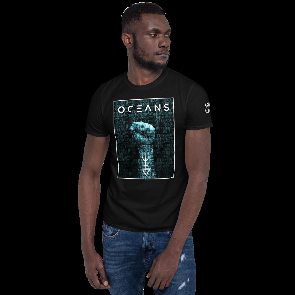 Men wearing Oceans Against All Odds T-Shirt